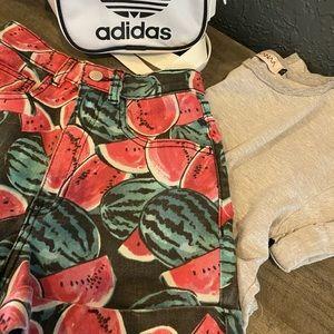 High-Waisted Watermelon Denim Shorts